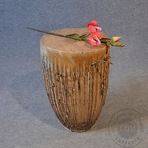 Antique African Drum Side Table Occasional Small Low