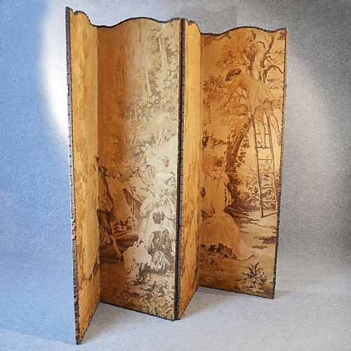 Antique Folding Screen Room Divider Partition Tapestry Fabric Victorian C1880
