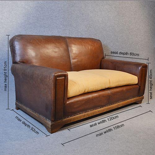 Sofa Vintage Leather Antique 2 Seater Club Settee Art Deco