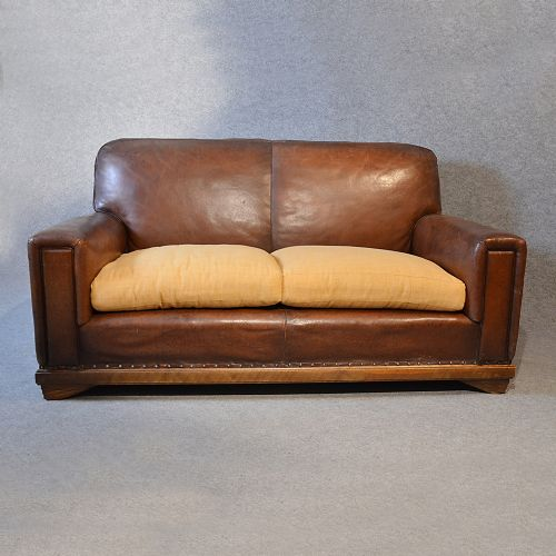 Sofa Vintage Leather Antique 2 Seater Club Settee Art Deco ...