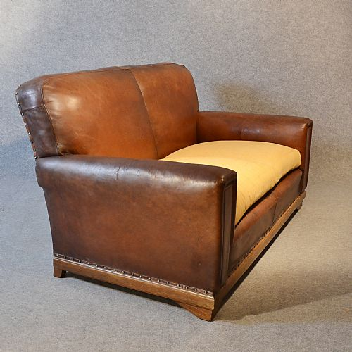 Sofa Vintage Leather Antique 2 Seater Club Settee Art Deco