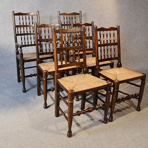 Oak Spindle Dining Chairs ~ Antique set quality oak kitchen dining spindle back
