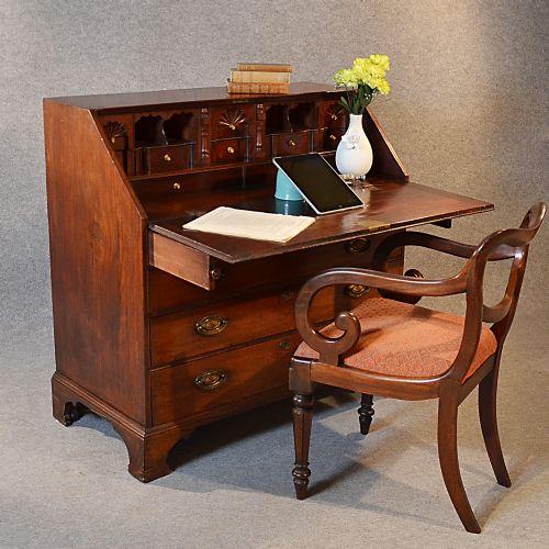 Antique georgian writing bureau large english mahogany for Bureau in english