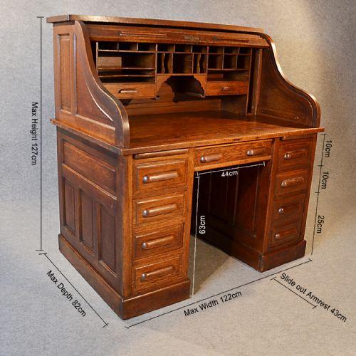 Antique Roll Top Writing Bureau Desk Oak Edwardian Globe