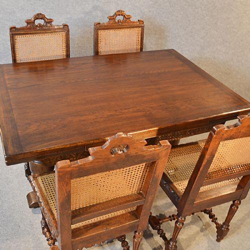 Antique oak kitchen dining table extending draw leaf 46 for Oak kitchen table with leaf