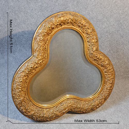 Antique wall mirror fine english gilt gesso trefoil for Antique looking wall mirrors