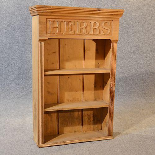 Antique bookcase victorian pine kitchen herb cabinet book for Antique pine kitchen cabinets