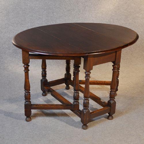 Antique Oak Oval Table Gate Leg Drop Flap Victorian Country Farmhouse C1850