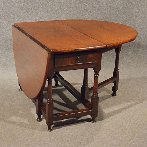 Antique Oak Dining Kitchen Table With Drawer Gate Leg Drop Leaf Victorian C19
