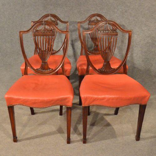 Antique Dining Chairs X 4 Hepplewhite Shield Back Mahogany ...