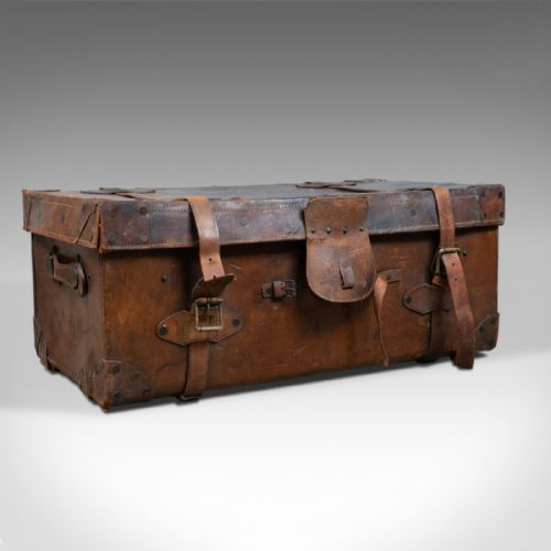 Diplomatic Wood Bound Canvas Steamer Travel Trunk Old Luggage Suitcase Antiques Antique Furniture