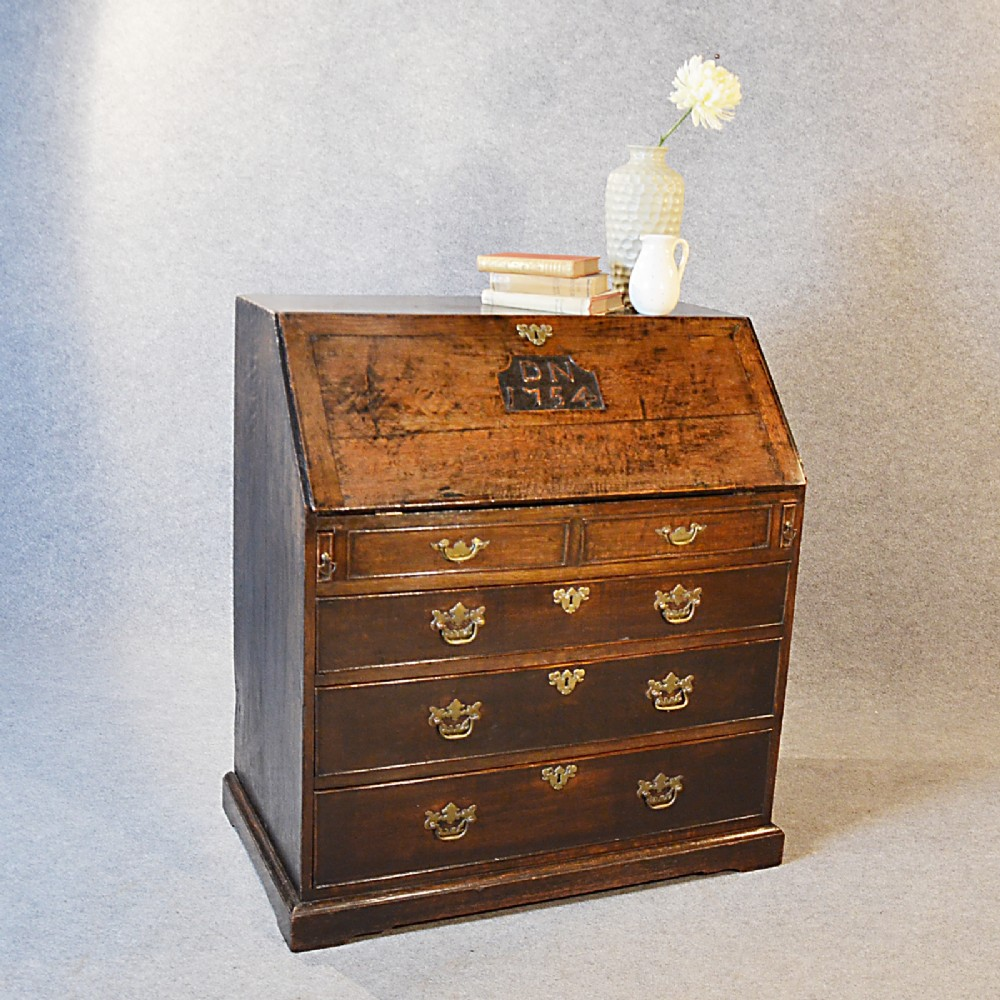 antique bureau georgian writing desk on chest quality english oak c1754 237299. Black Bedroom Furniture Sets. Home Design Ideas