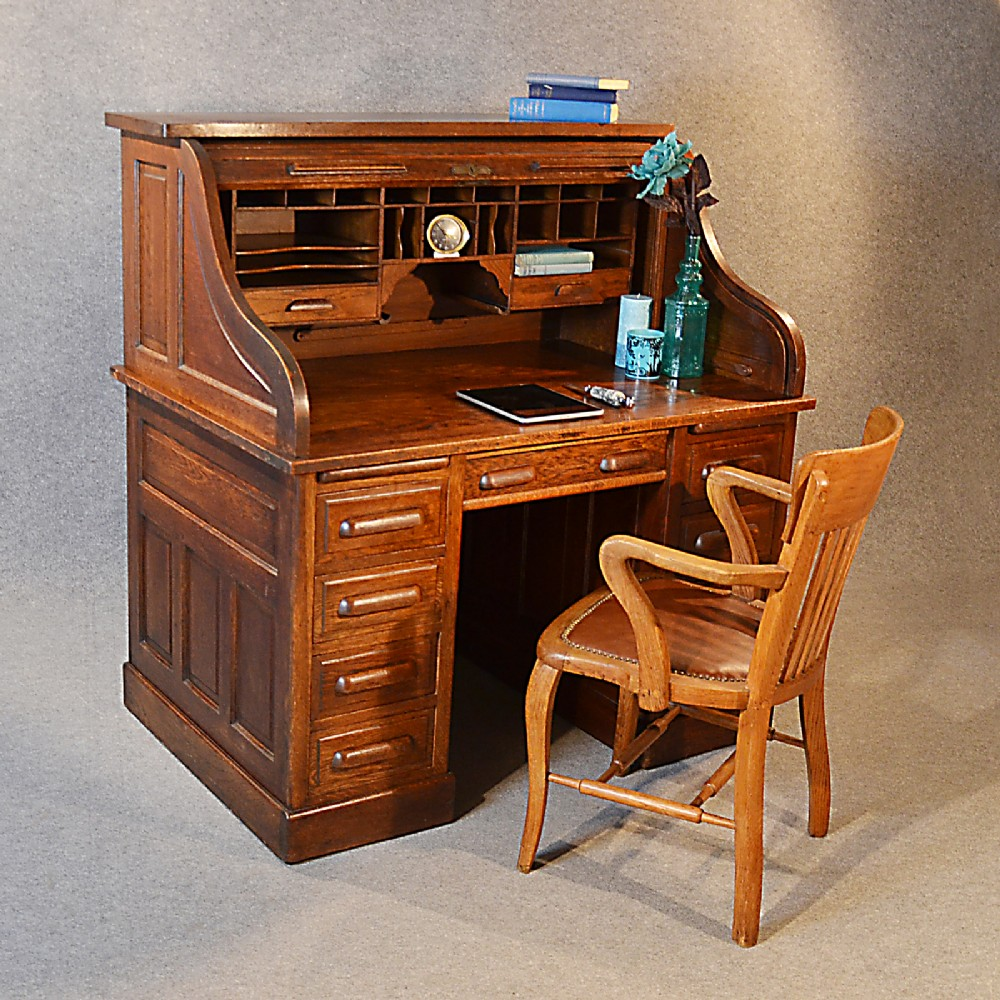 Antique Roll Top Writing Bureau Desk Oak Edwardian Globe ...