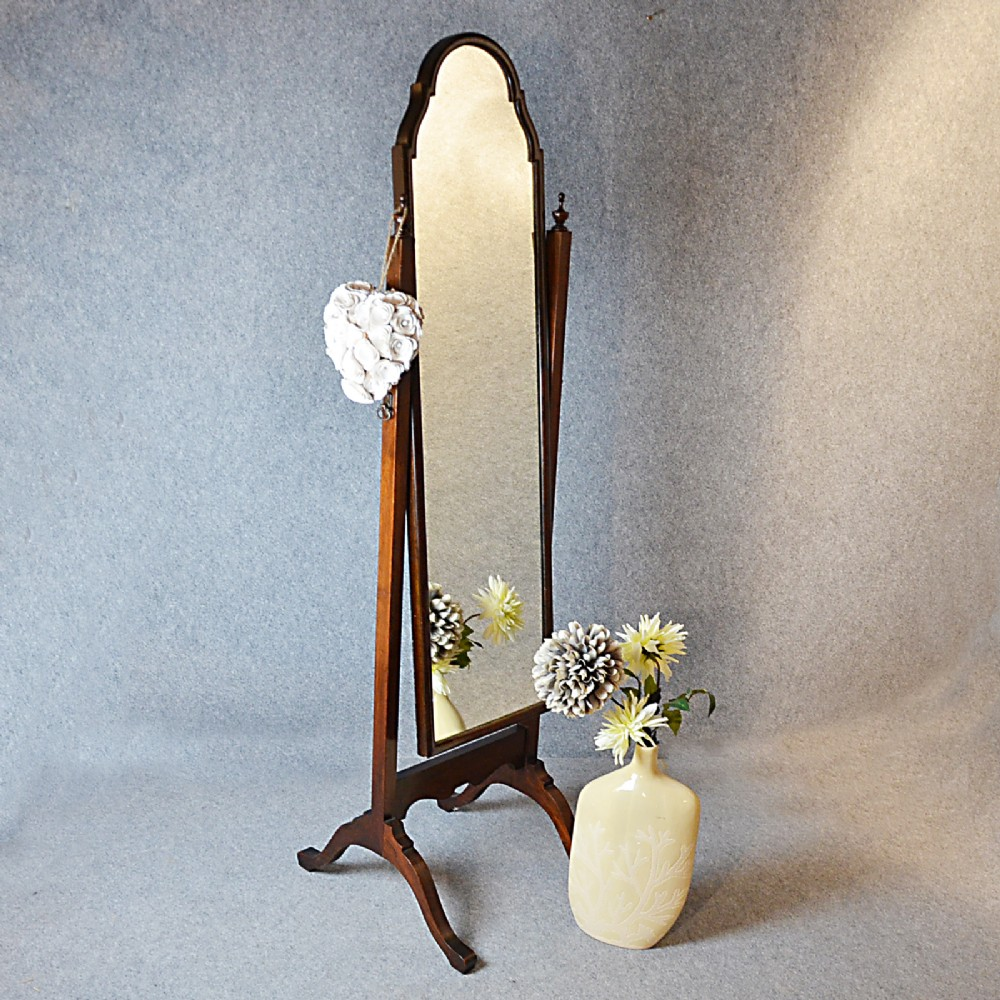 antique cheval mirror tall dressing swing free standing english edwardian c1910