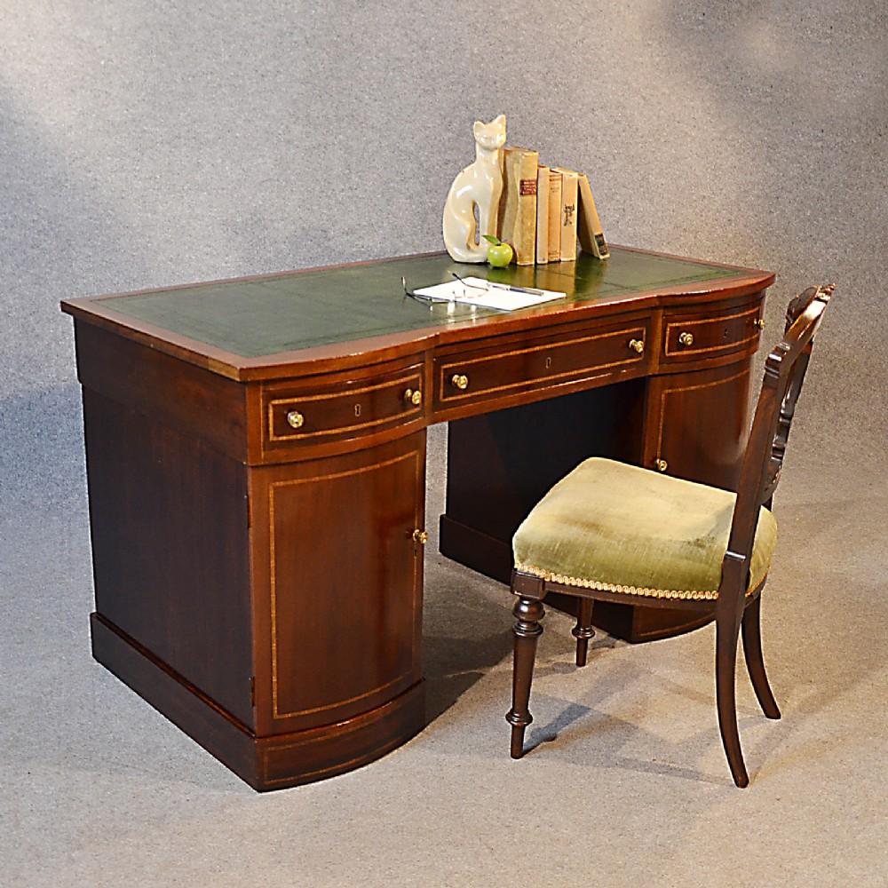antique desk edwardian leather english twin pedestal writing study table  c1910 - Antique Desk Edwardian Leather English Twin Pedestal Writing Study