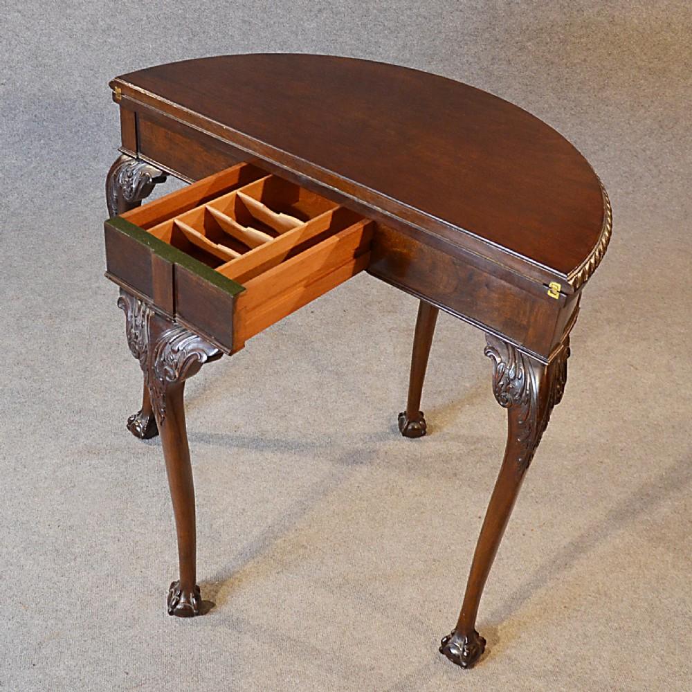 Antique Quality Demi Lune Folding Tea Games Sofa Card Table