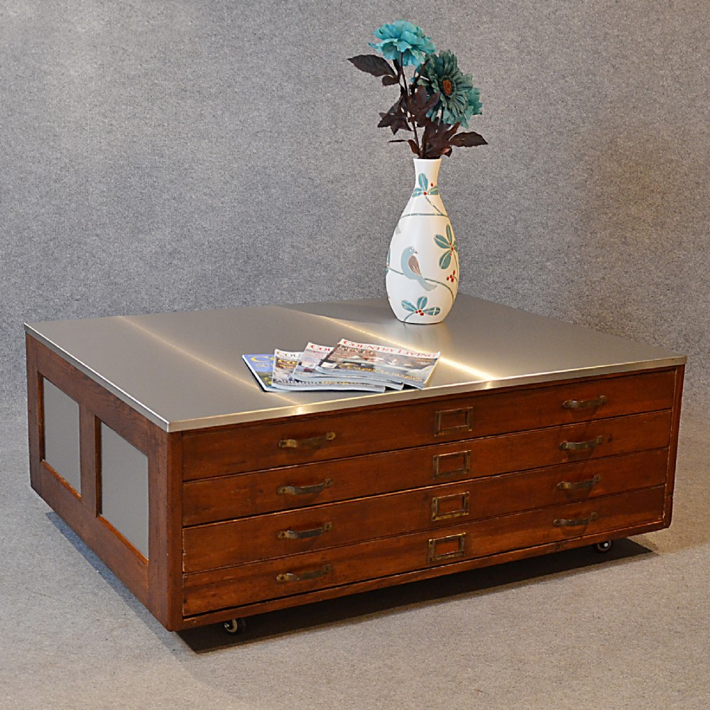 Plan Chest Coffee Table Vintage Industrial Drawers Stainless