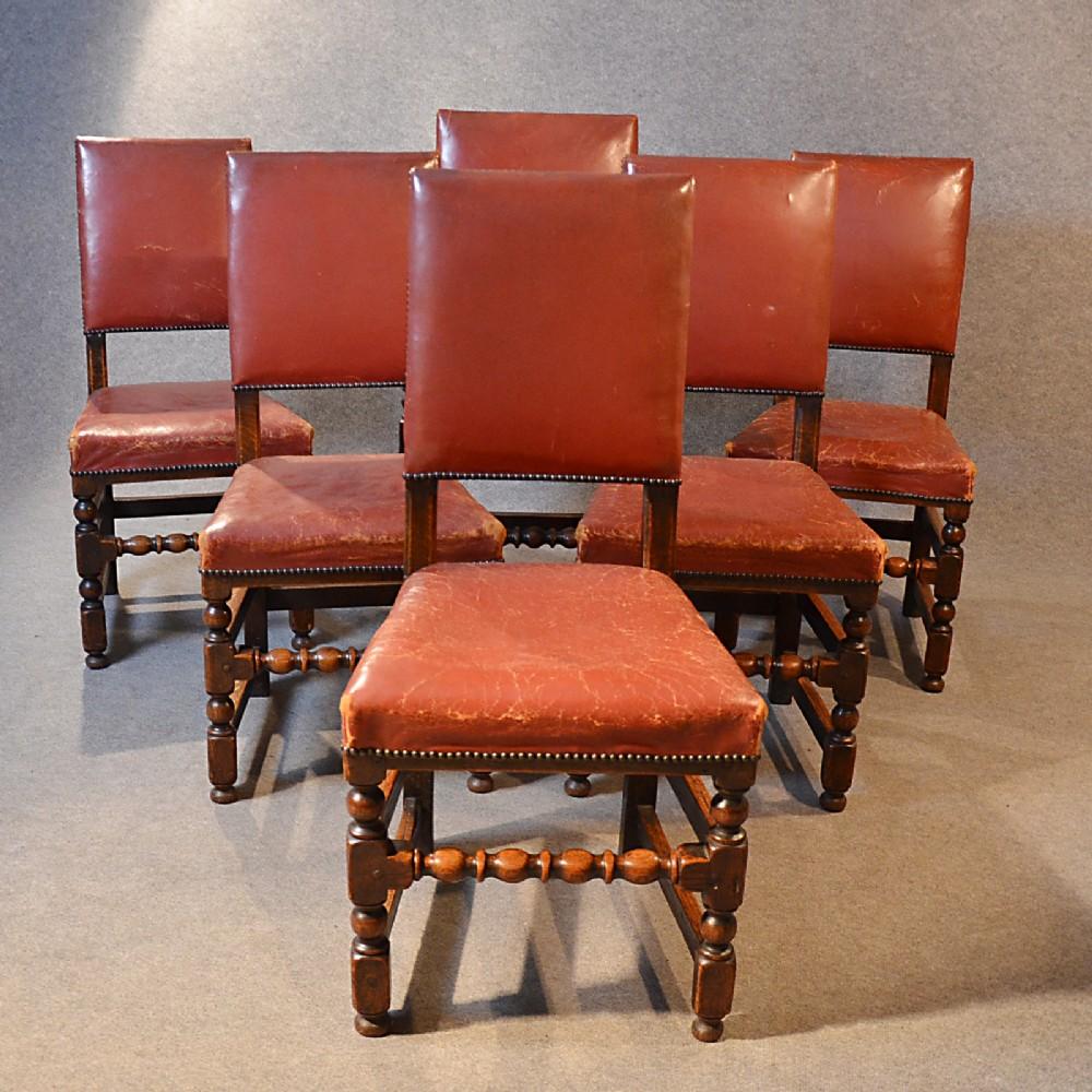 Antique Set 6 Six Oak Amp Leather Cromwellian Revival Dining