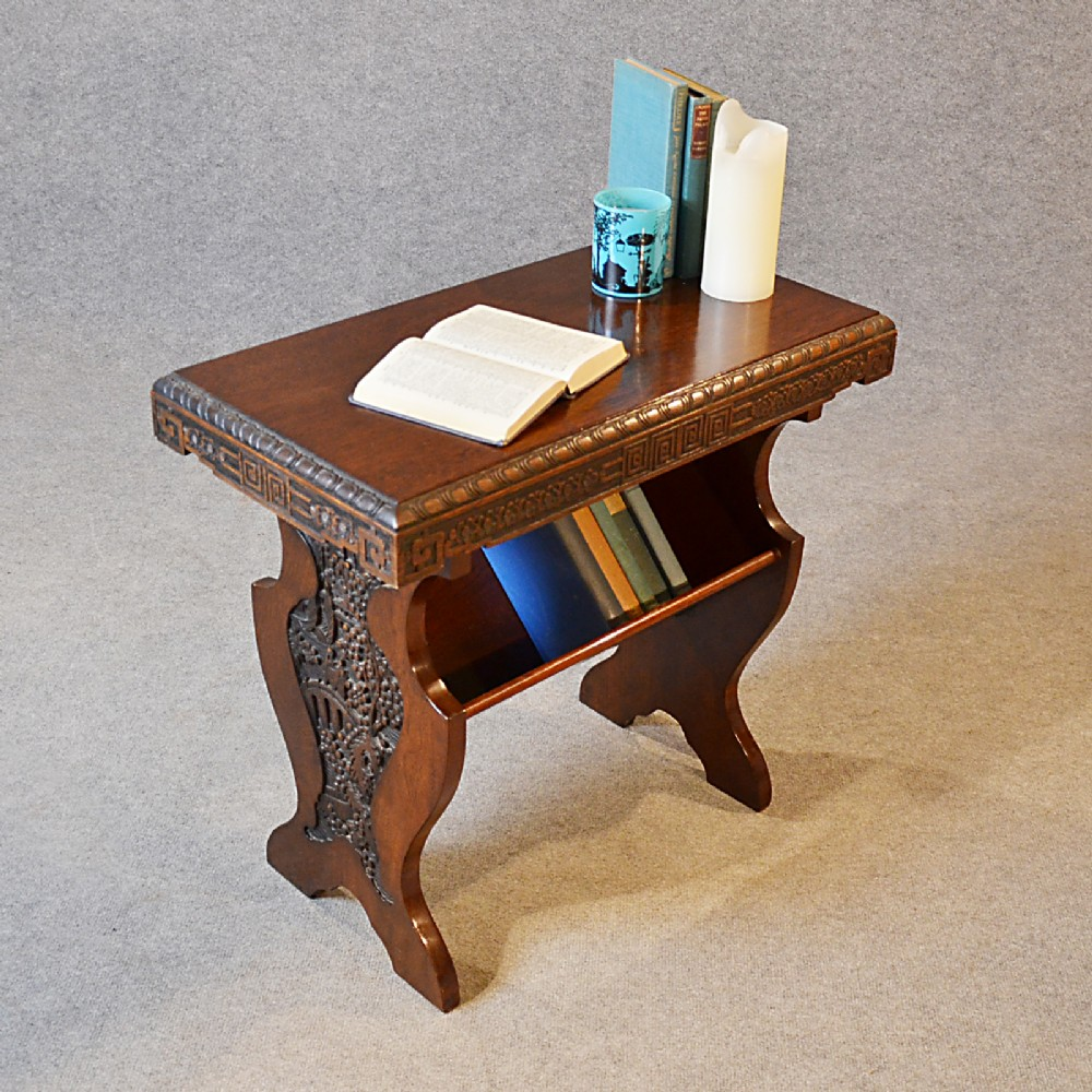 Antique Occasional Side Table Book Magazine Rack Victorian English Oak C1890