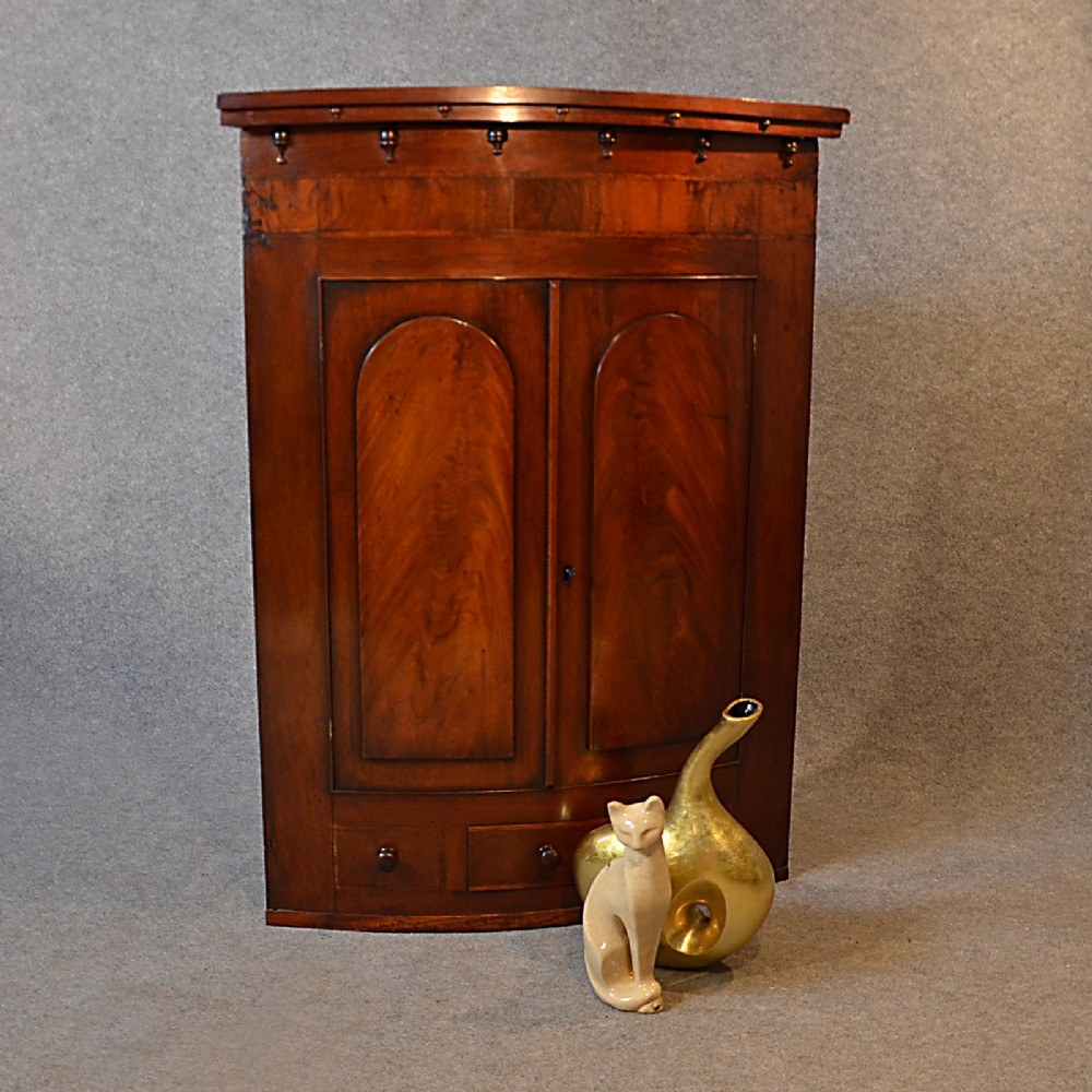 Antique Bow Front Corner Cupboard English Georgian Mahogany Wall Cabinet  C1800