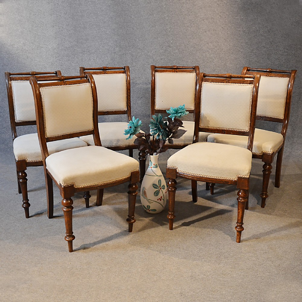 Antique victorian dining chairs - Antique Set Six Victorian English Quality Oak Dining Chairs Sprung Seats C1890