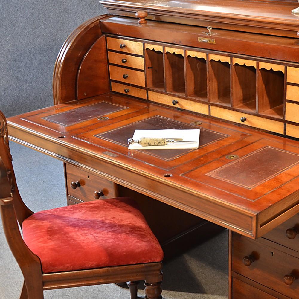 antique fine victorian writing bureau large english cylinder roll top desk c1870 246225. Black Bedroom Furniture Sets. Home Design Ideas
