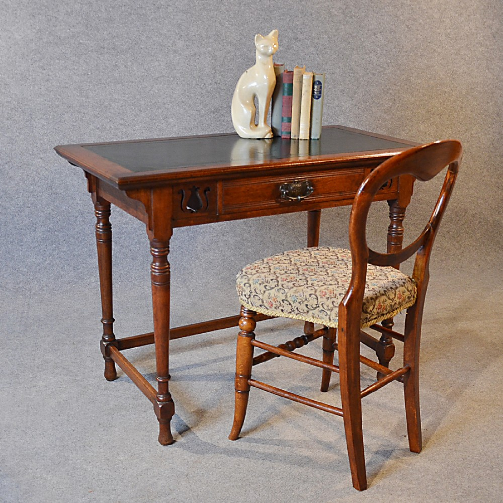Charmant Antique Desk Leather Top English Oak Writing Study Table Liberty Design  C1910