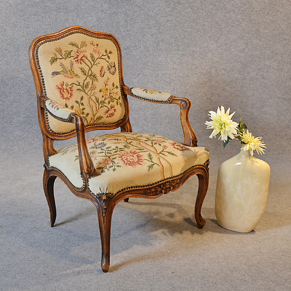 antique armchair walnut needlepoint tapestry salon reading arm chair c1880 - Antique Armchair Walnut Needlepoint Tapestry Salon Reading Arm Chair
