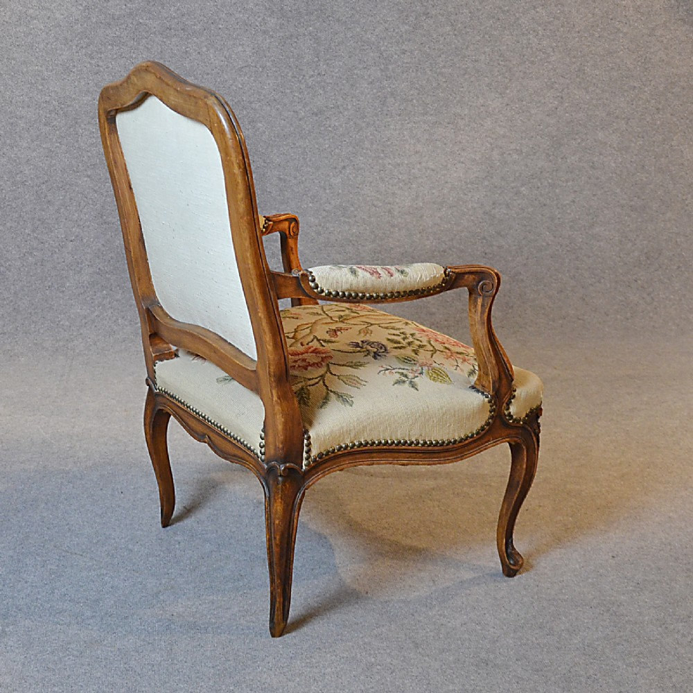 Antique armchair walnut needlepoint tapestry salon reading for Oversized reading chair for sale