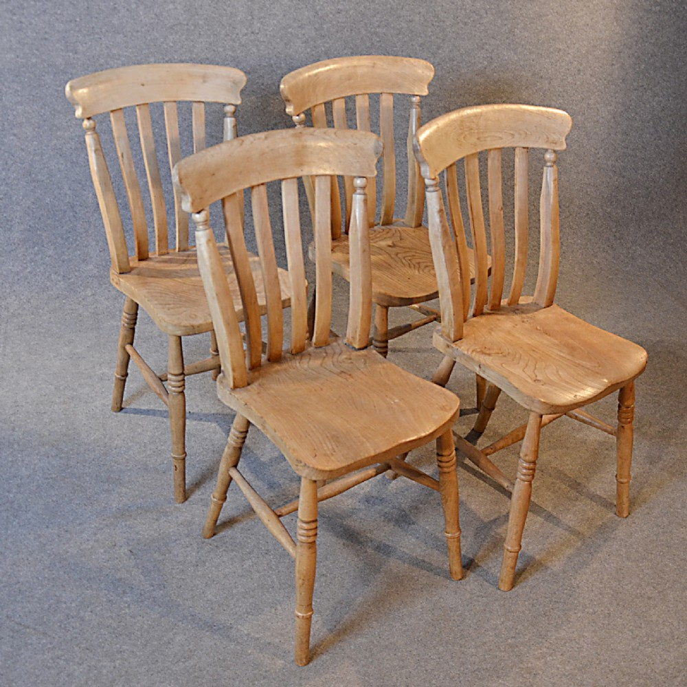 Great Antique Kitchen Dining Chairs Set 4 Quality Victorian Elm Windsor Lath C1880