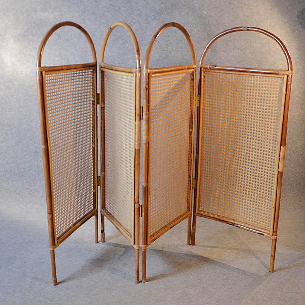 Antique Folding Screen Room Divider Partition Bergere English Edwardian C1910