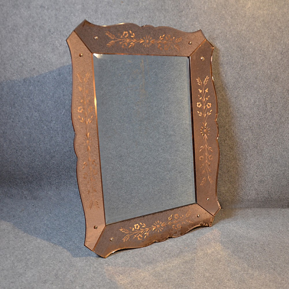 Antique wall mirror art deco bevelled looking glass frame for Looking for wall mirrors