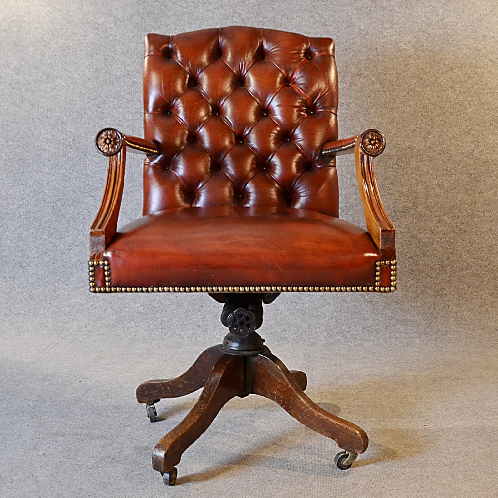 antique leather desk office swivel chair english edwardian armchair c1910 - Antique Leather Desk Office Swivel Chair English Edwardian Armchair