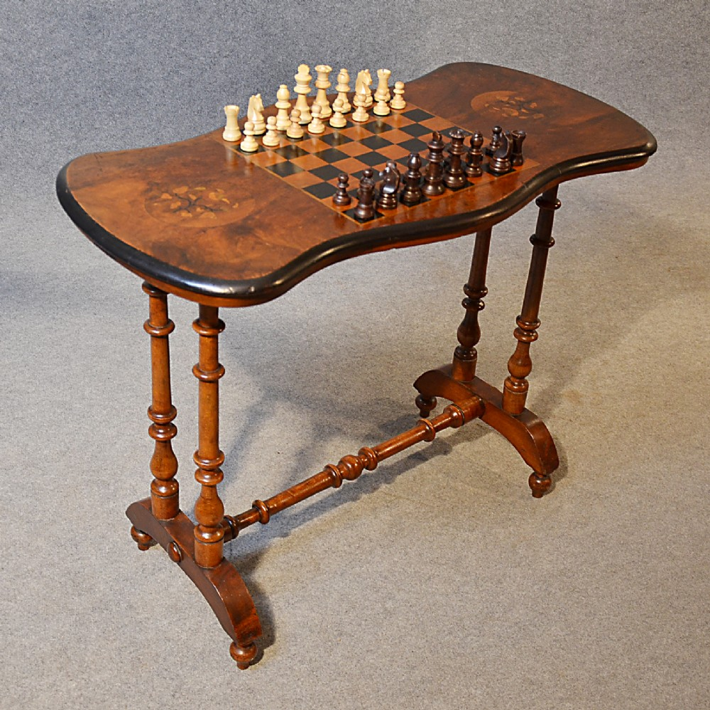 Antique Table Victorian Games Chess Board Walnut English Sofa Side ...