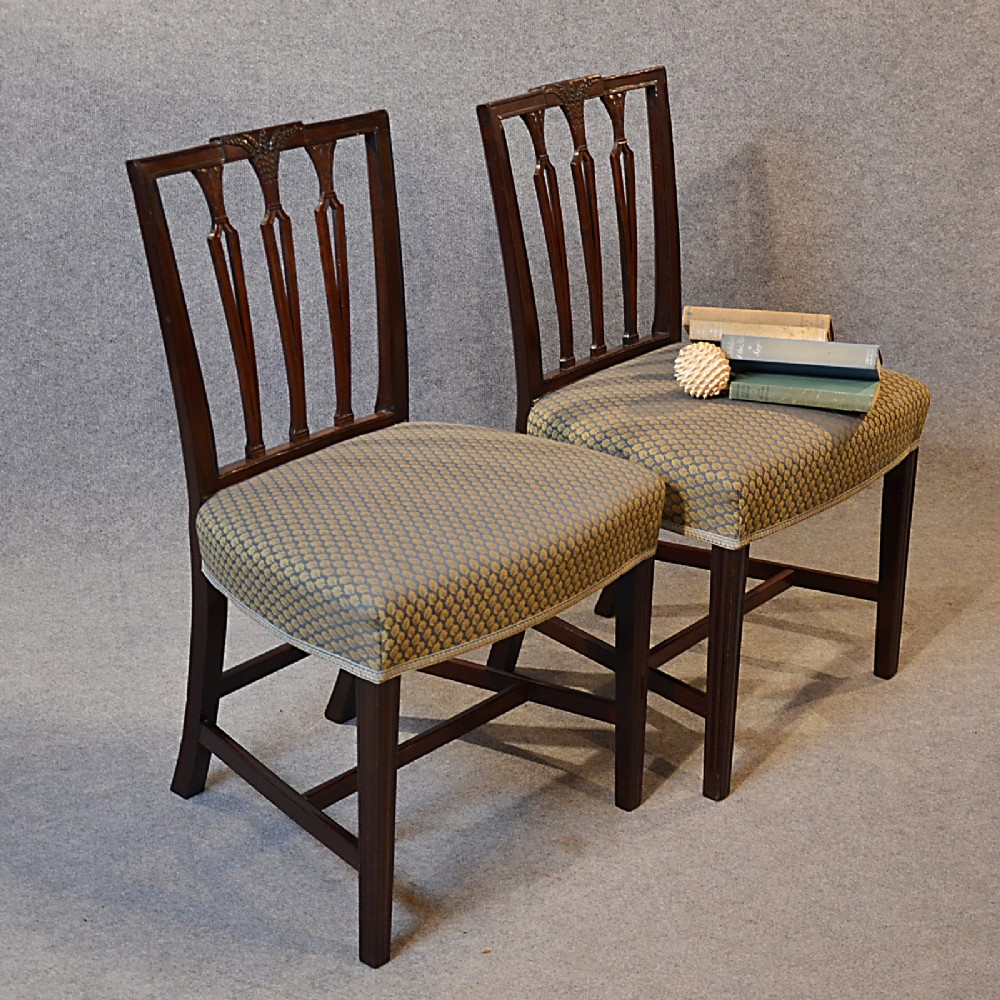antique pair chairs sheraton period georgian english dining side chair  c1790 - Antique Pair Chairs Sheraton - Antique Sheraton Furniture Antique Furniture