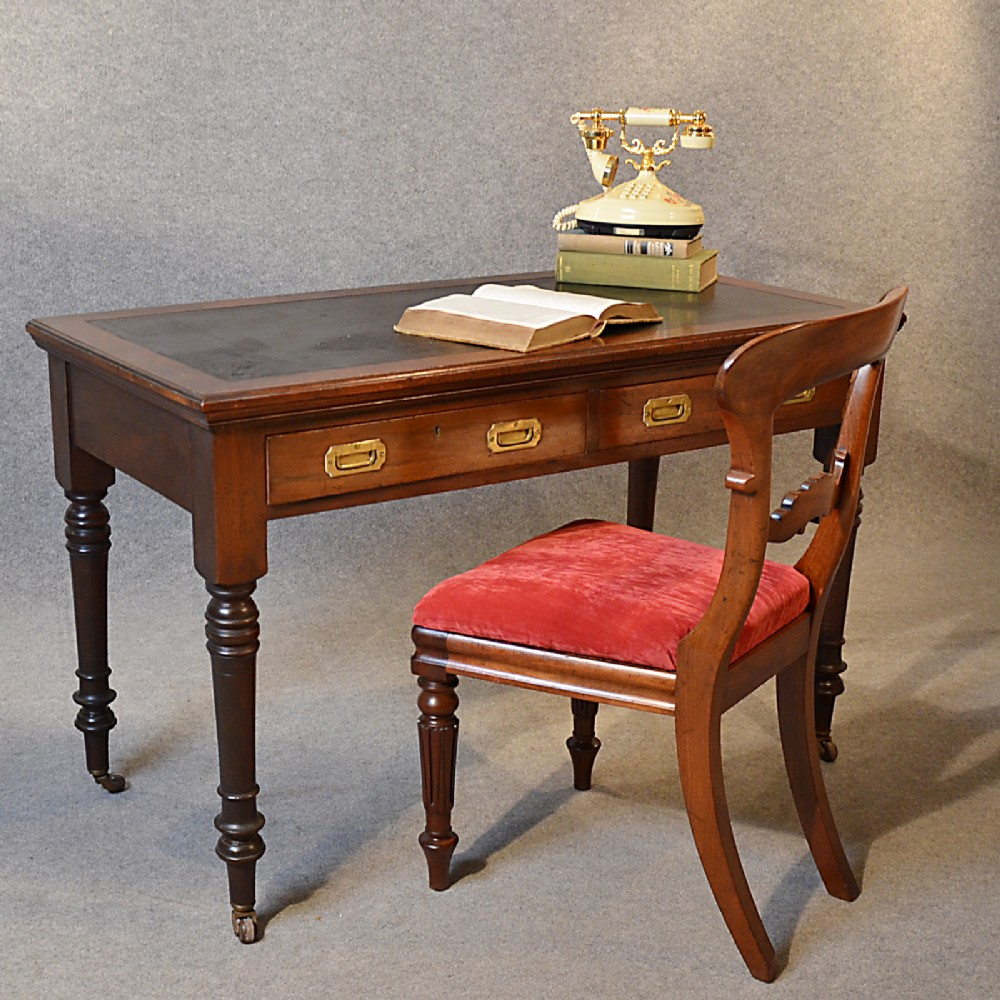 antique desk victorian english leather top mahogany writing study table  c1880 - Antique Desk Victorian English Leather Top Mahogany Writing Study