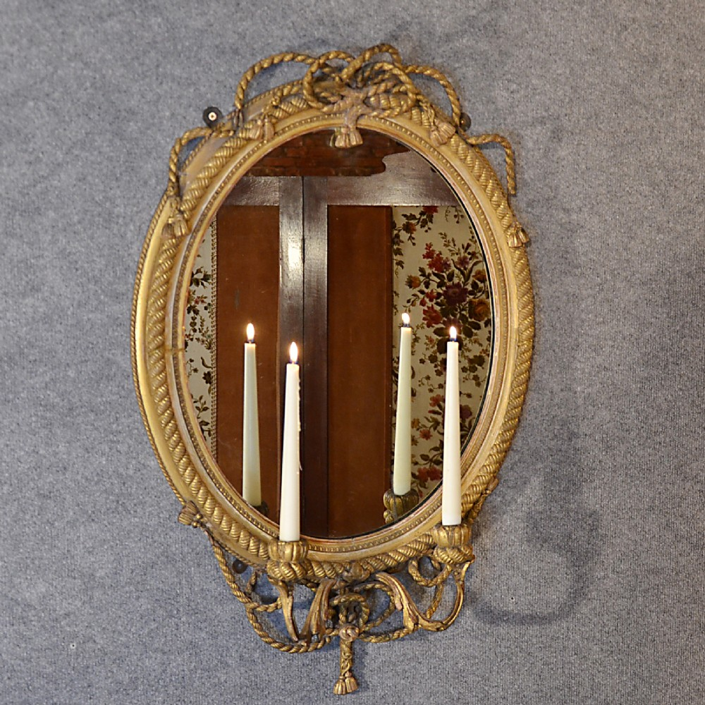 Antique Wall Mirror Regency Gilt Girondole Sconce ...