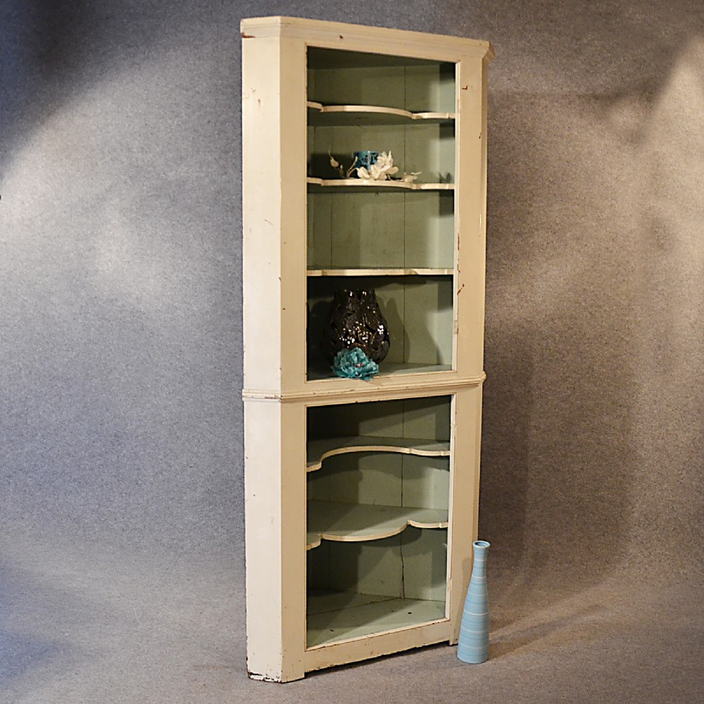 antique victorian pine corner cupboard tall open cabinet english c1900 - Antique Victorian Pine Corner Cupboard Tall Open Cabinet English
