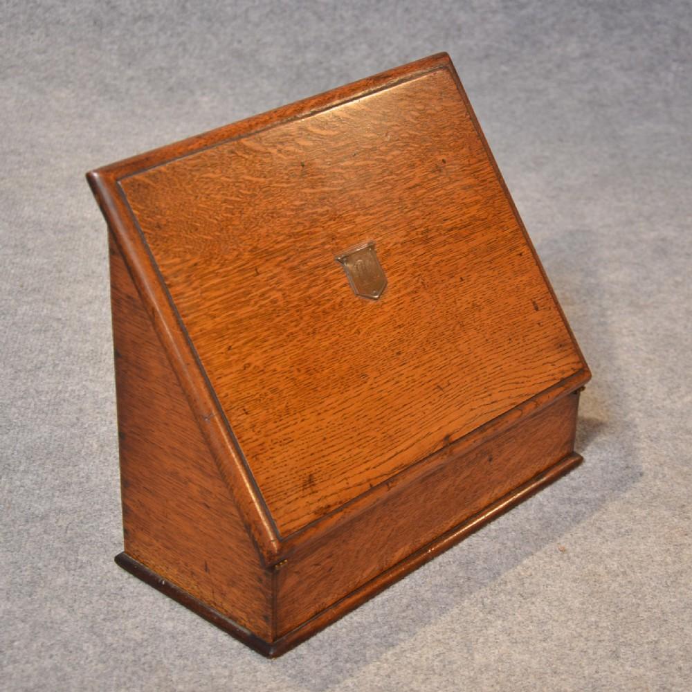antique writing box quality oak stationery box desk tidy letter slope c1890 - Antique Writing Box Quality Oak Stationery Box Desk Tidy Letter