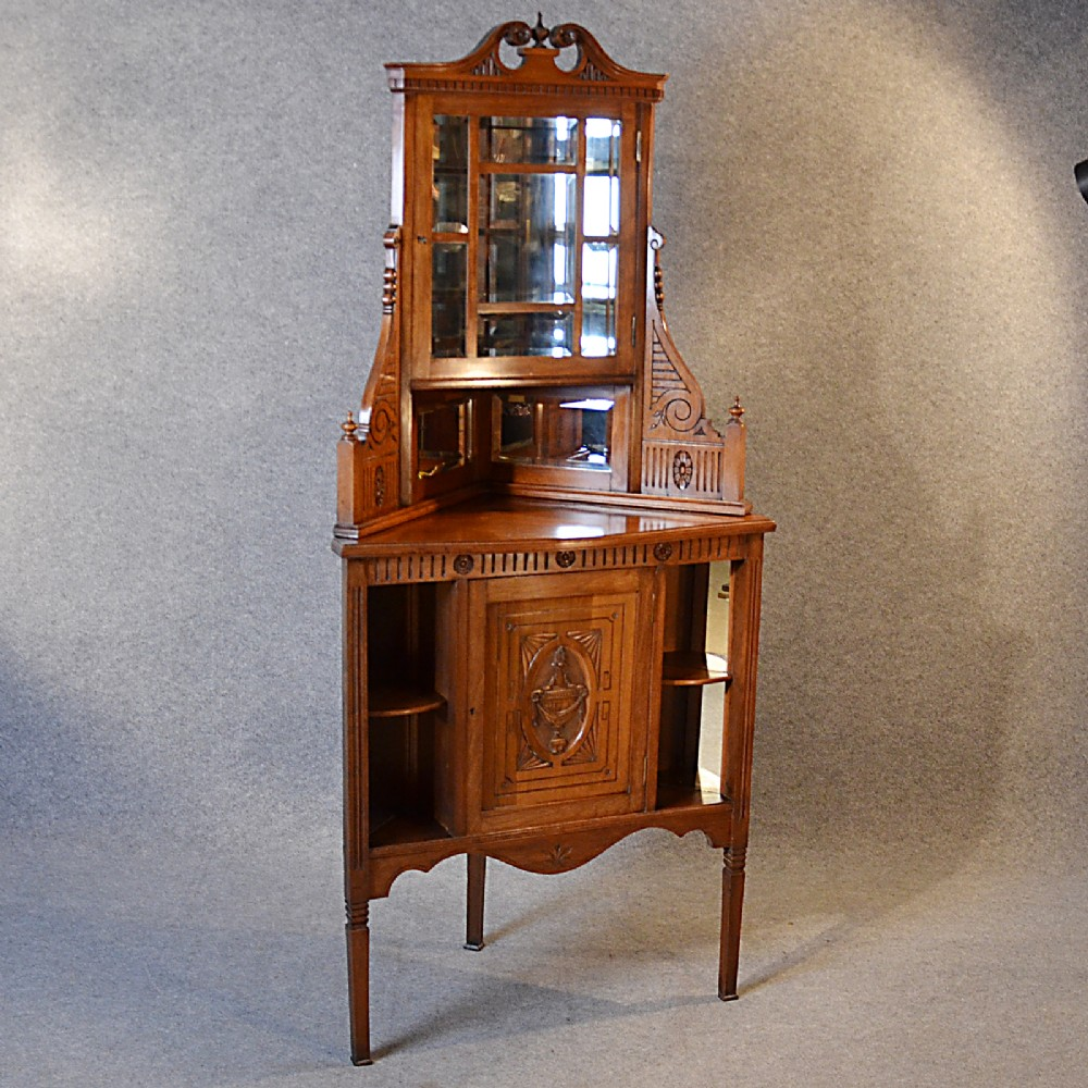 Antique Corner Cabinet China Display Cupboard Victorian Walnut - Antique Corner Display Cabinet - Corner Designs