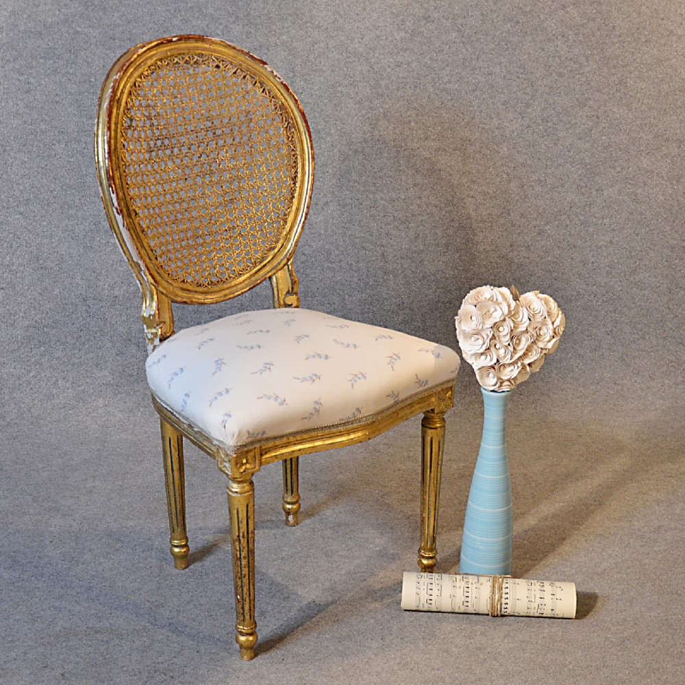 Antique french chair - Antique French Chair Bedroom Dining Side Neoclassical Gilt Bergere Back C1880