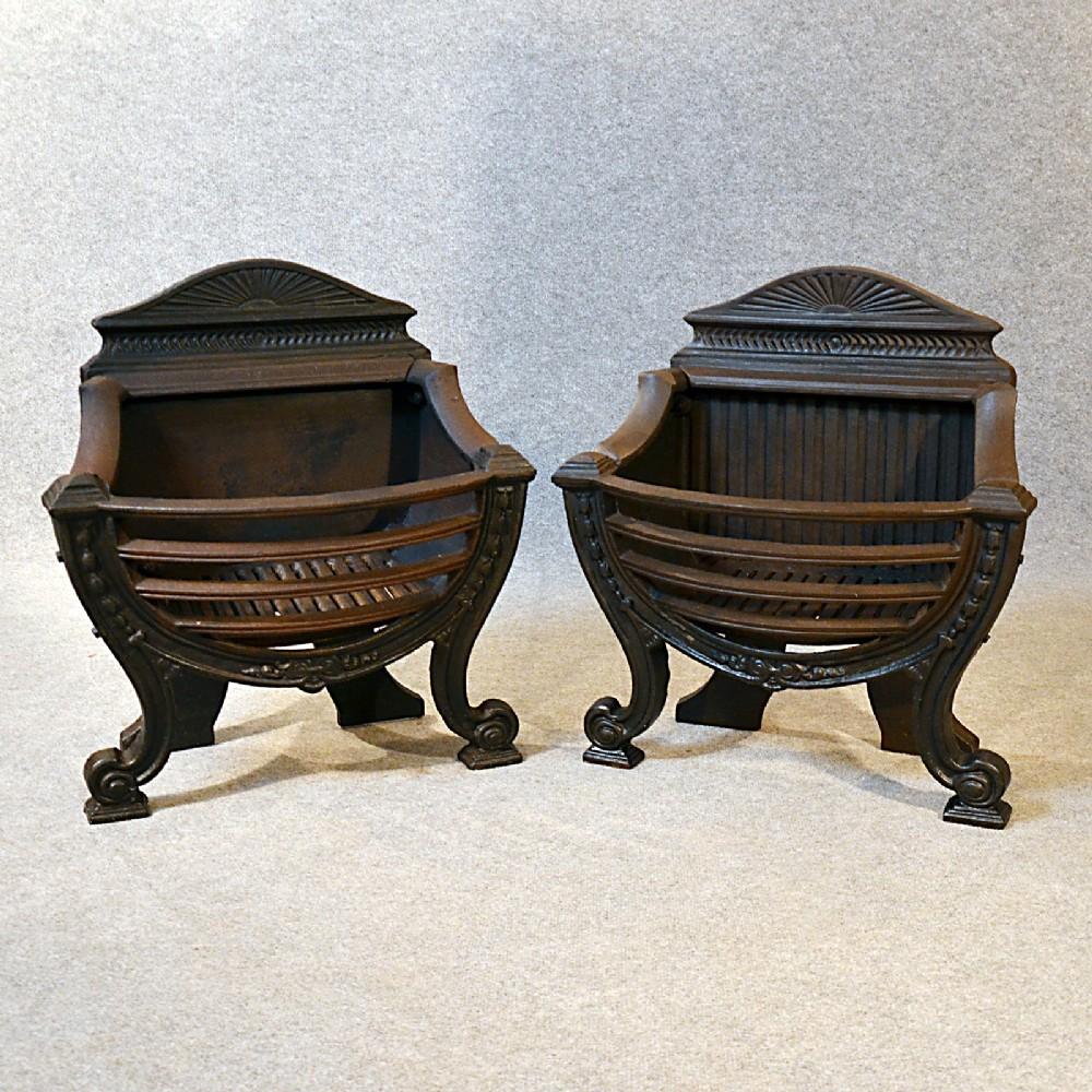 Antique Fire Basket Pair Cast Iron Grate English Victorian C1890   264316   Sellingantiques.co.uk