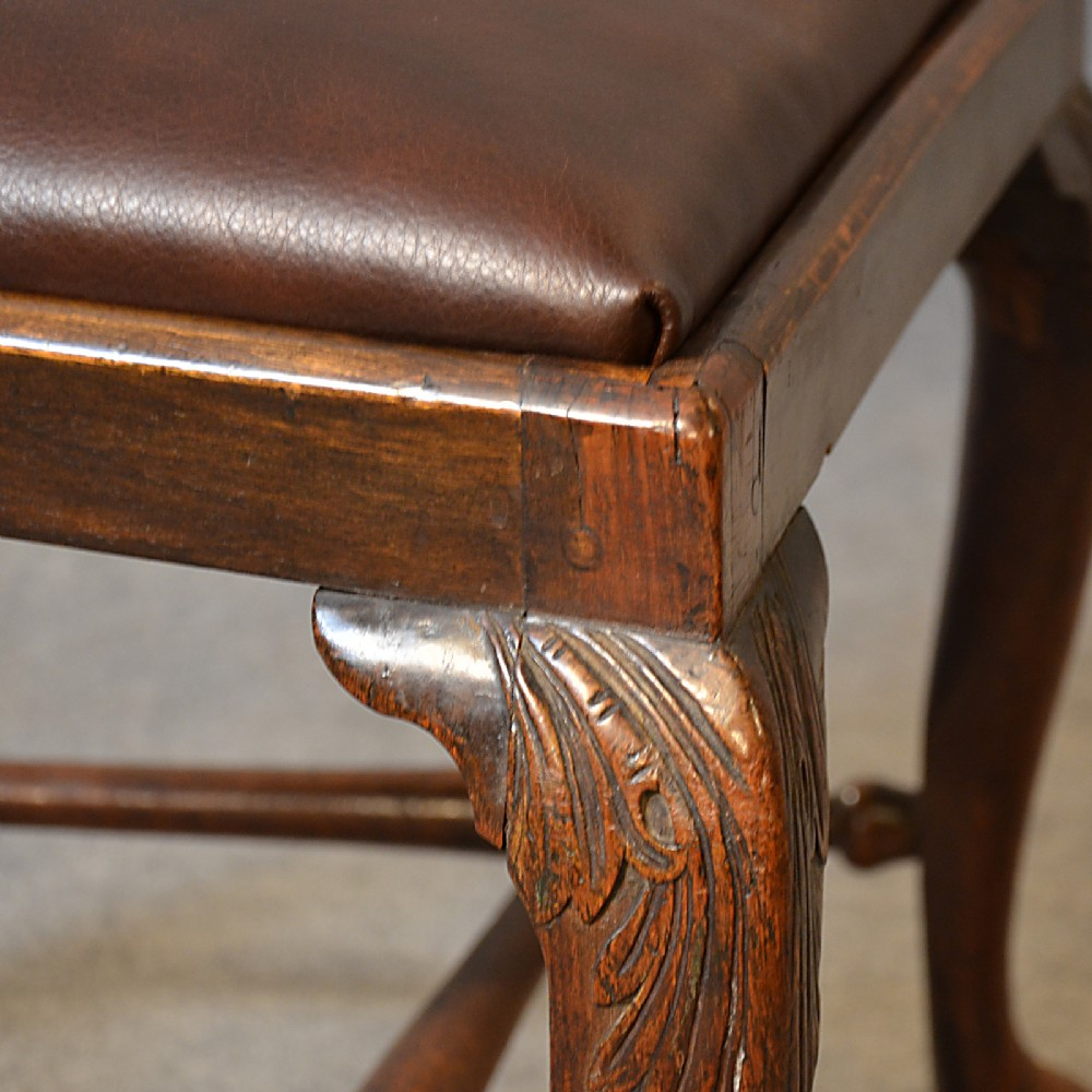 Antique Chair Dining Side Fine English Leather & Mahogany