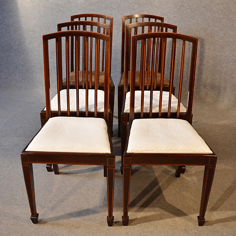 antique set six 6 dining chairs top quality english victorian sheraton  c1890 - Antique Set Six - Antique Sheraton Furniture Antique Furniture