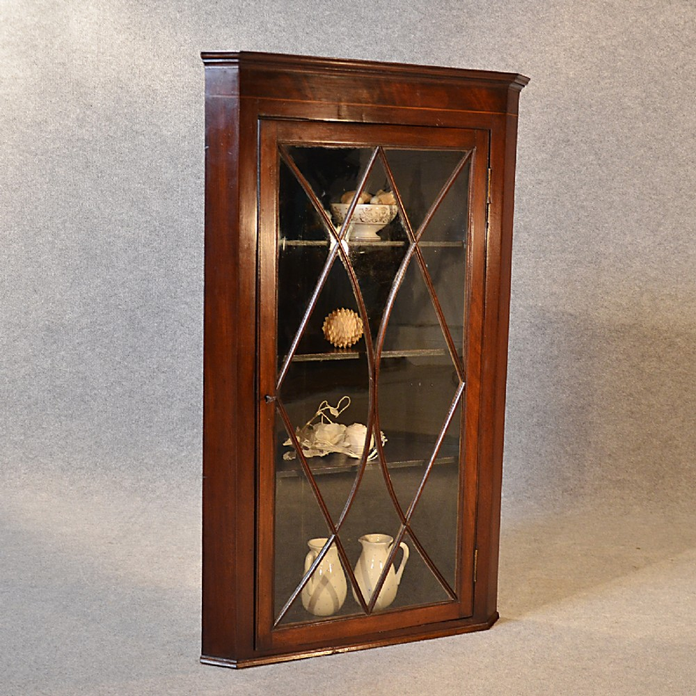 antique corner display cabinet english georgian mahogany wall cupboard c1800 - Antique Corner Display Cabinet English Georgian Mahogany Wall