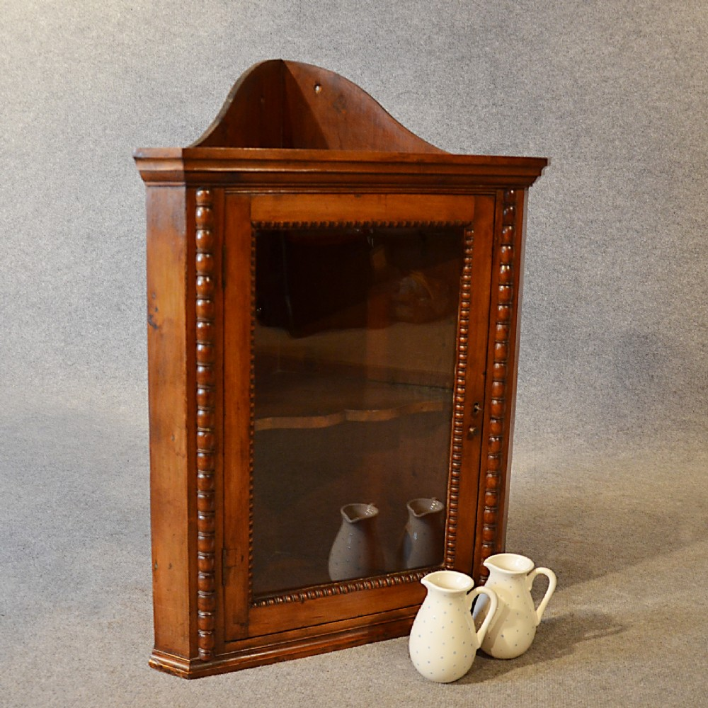 antique corner display cabinet english victorian fruitwood wall cupboard  c1900 - Antique Corner Display Cabinet English Victorian Fruitwood Wall