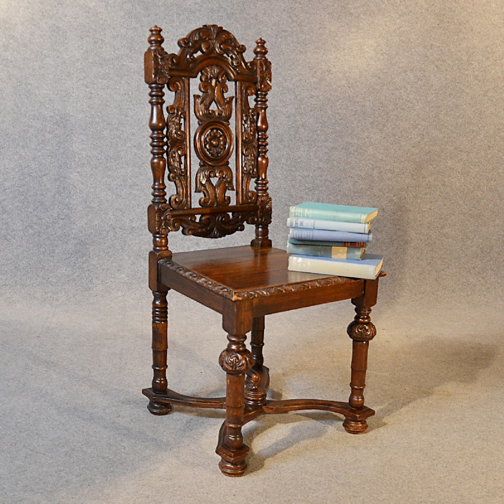 Antique Chair Oak Tall High Back Drawing Room Victorian English Hall Seat C1880