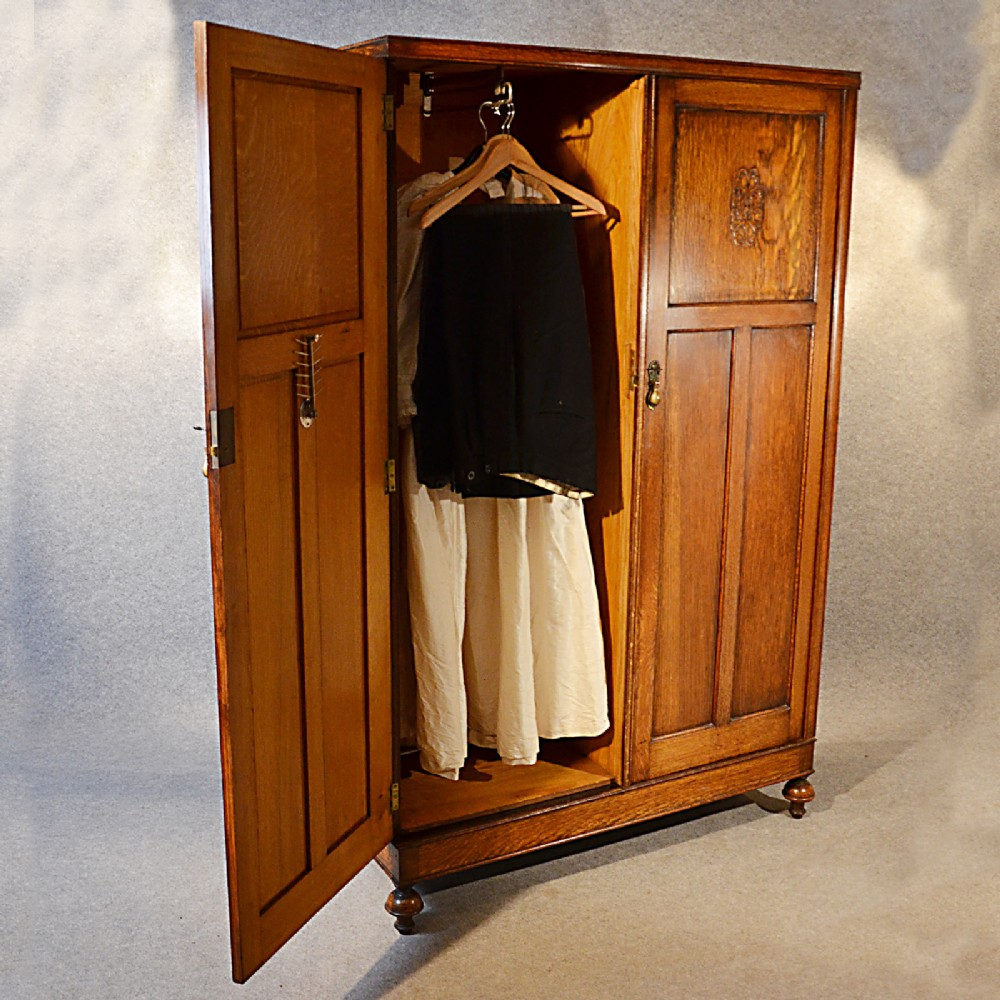 Antique Wardrobe Oak Edwardian English Armoire Compactum Linen