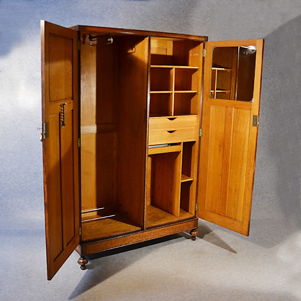 antique wardrobe oak edwardian english armoire compactum. Black Bedroom Furniture Sets. Home Design Ideas