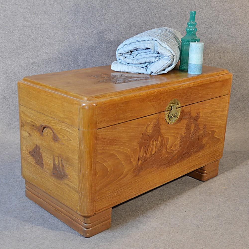 Camphor Wood Chest ~ Antique camphor wood blanket box chest storage trunk